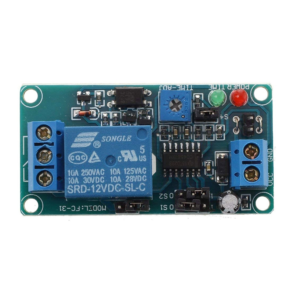 Módulo de relé de retardo de tiempo de temporizador de circuito de zumbador de coche de 12V CC electrónica de Control Digital