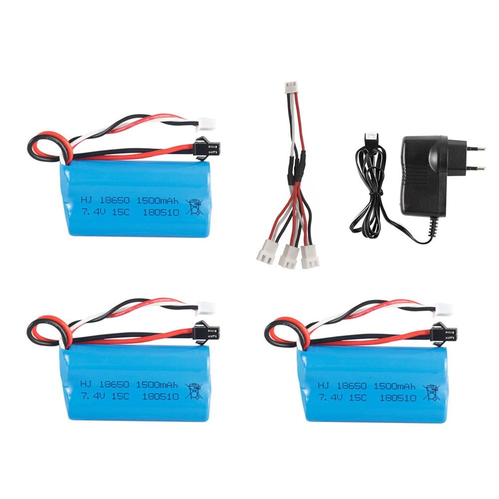 Batterie lipo 7.4V 1500mAh pour YDI U12A Syma S033g Q1 TK H101 Rc jouets bateaux voitures réservoirs Drone partie 18650 batterie et chargeur ensemble