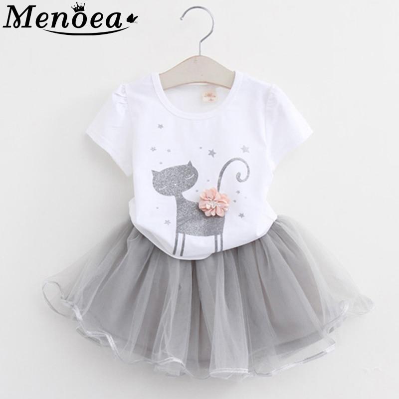 Vestido de niña 2020 ropa de verano estilo gato dibujos animados lindo pequeño blanco dibujos animados vestido gatito impreso niños vestidos