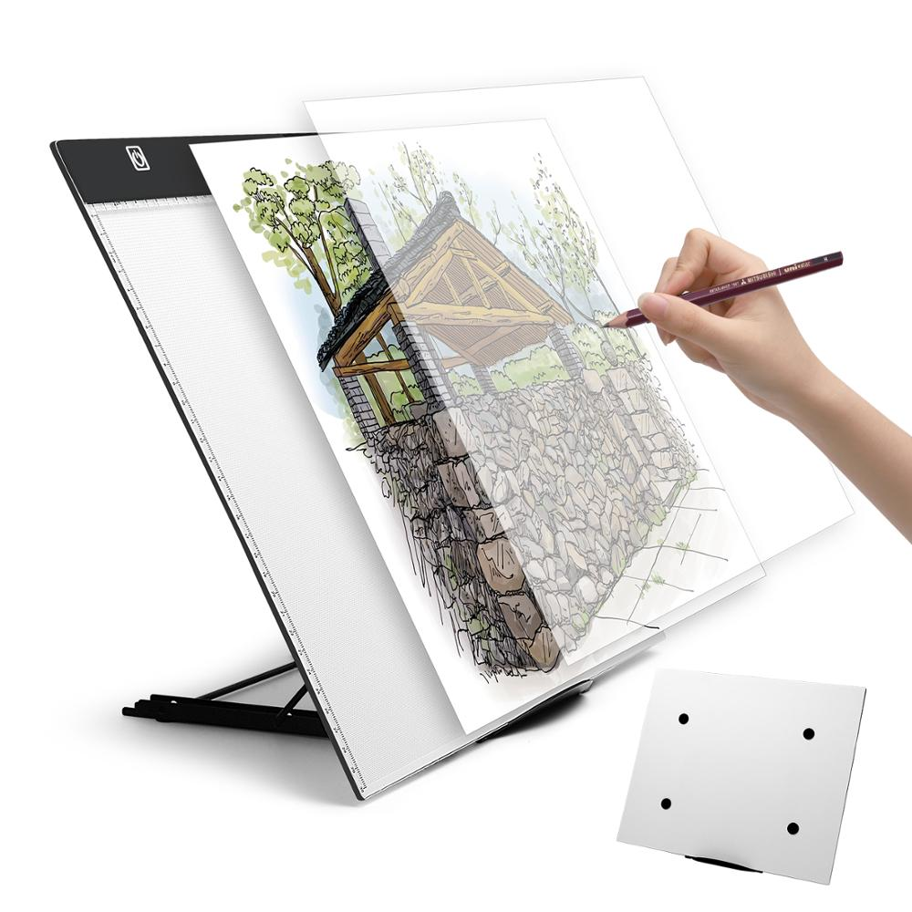 A3 LED painting tool light pad tracking light box, with school bag, bracket, lighting tracking pad, for artists