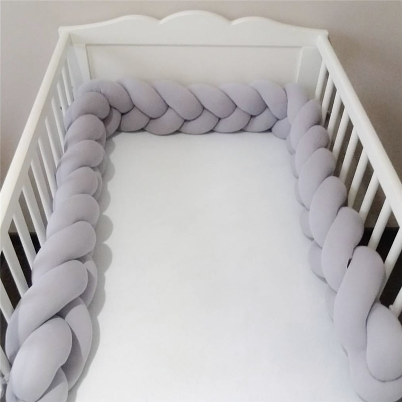 1M/2M/3M/4M Baby Bed Bumper Knot Long Handmade Knotted Braid Weaving Plush Baby Crib Protector Infant Knot Pillow Room Decor