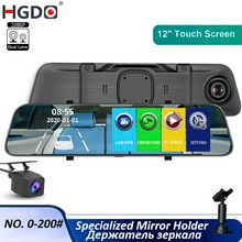 "HGDO 12"" Car Dvr Stream Media Dash Camera Touch Mirror With 1080P Rear View Camera Video Recorder FHD Auto Registrar Dash cam"
