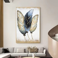 abstract golden feather art canvas painting oil painting print on canvas wall art pictures for living room home decor no frame