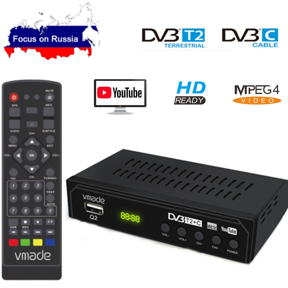 DVB-T2 DVB-C Digital TV Tuner Receiver WIFI 1080P HD Decoder TV Box DVB-T M3U H.264 Youtube TV Receptor Russian Set Top Box недорого