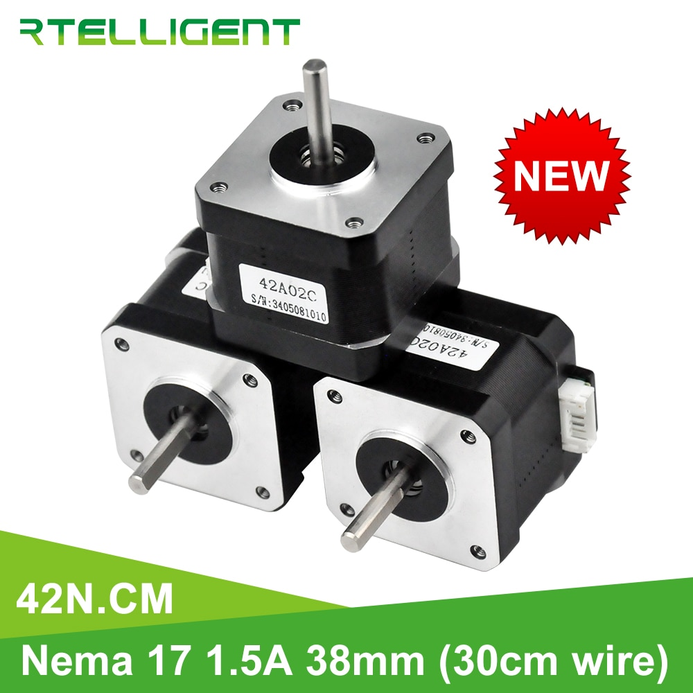 Rtelligent Nema 17 Stepper Motor 38mm 42motor Nema17 42BYGH 42N.cm (59.5oz.in) 4 lead stepper motor