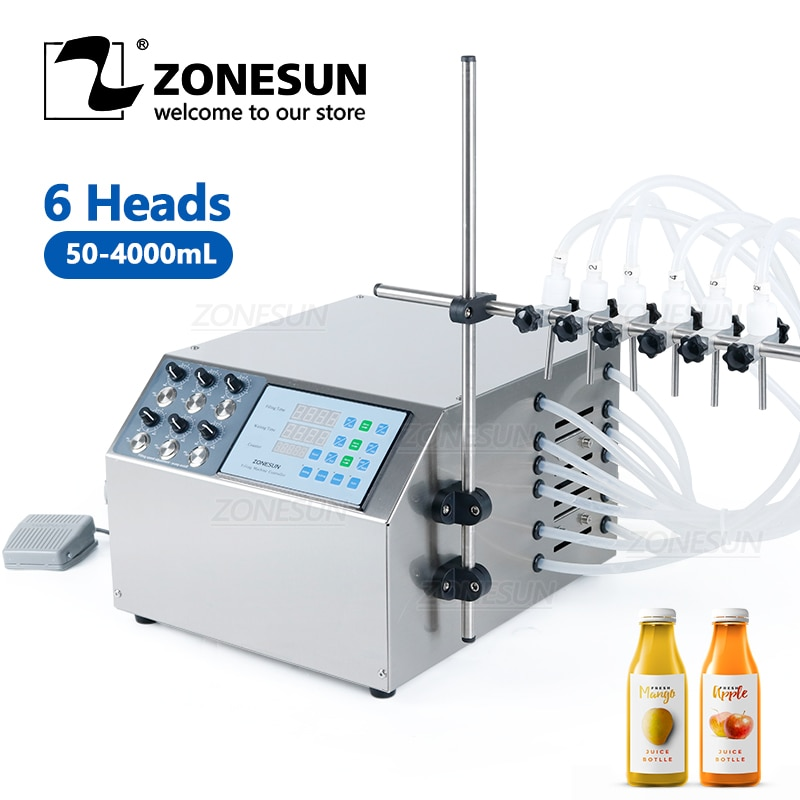 ZONESUN 6 فوهات شبه التلقائي عصير مانجو الحليب المياه حشوة الزجاجة المشروبات السائل الحجاب الحاجز مضخة ماكينة حشو
