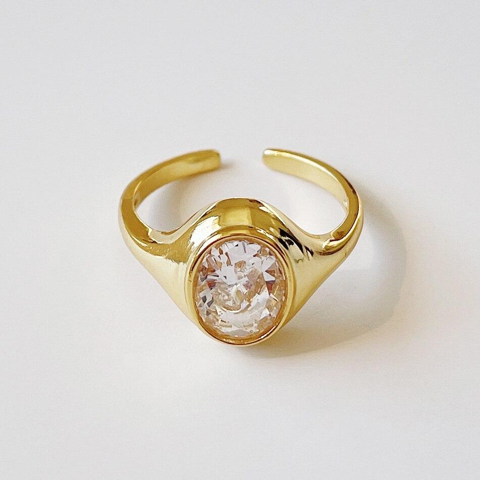 Женские серебряные кольца с овальным цирконом, серебряные ювелирные украшения под золото 925 пробы