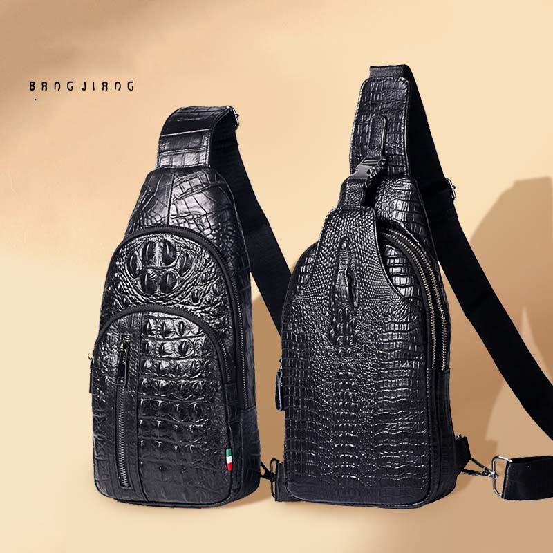 Crocodile Pattern Chest Bag Men's Leather Casual Shoulder Messenger Bag Large Capacity Soft Head Layer Cowhide Backpack Fashion fasiqi crocodile leather chest bag leisure travel 2018 multifunctional new stylish messenger tote large capacity crocodile skin