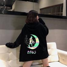 2019 Cartoon Sailor Moon Reflect Light Printing Midnight Woman Sweatshirt Hoodies Women Harajuku Kpop Hoodie Cute Anime Hoodies