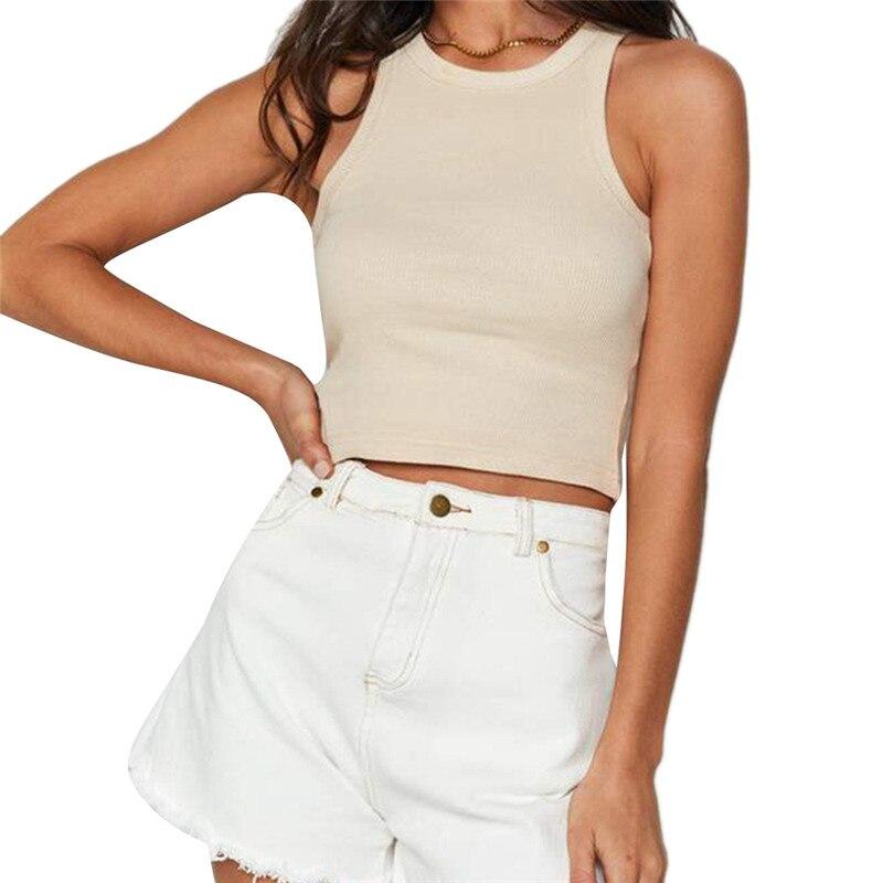 Female Vest Solid Color Round Neck Sleeveless T-Shirt Women' s Crop Top( White/Black, S/M/L) футболка carhartt s s college script t shirt black white xl