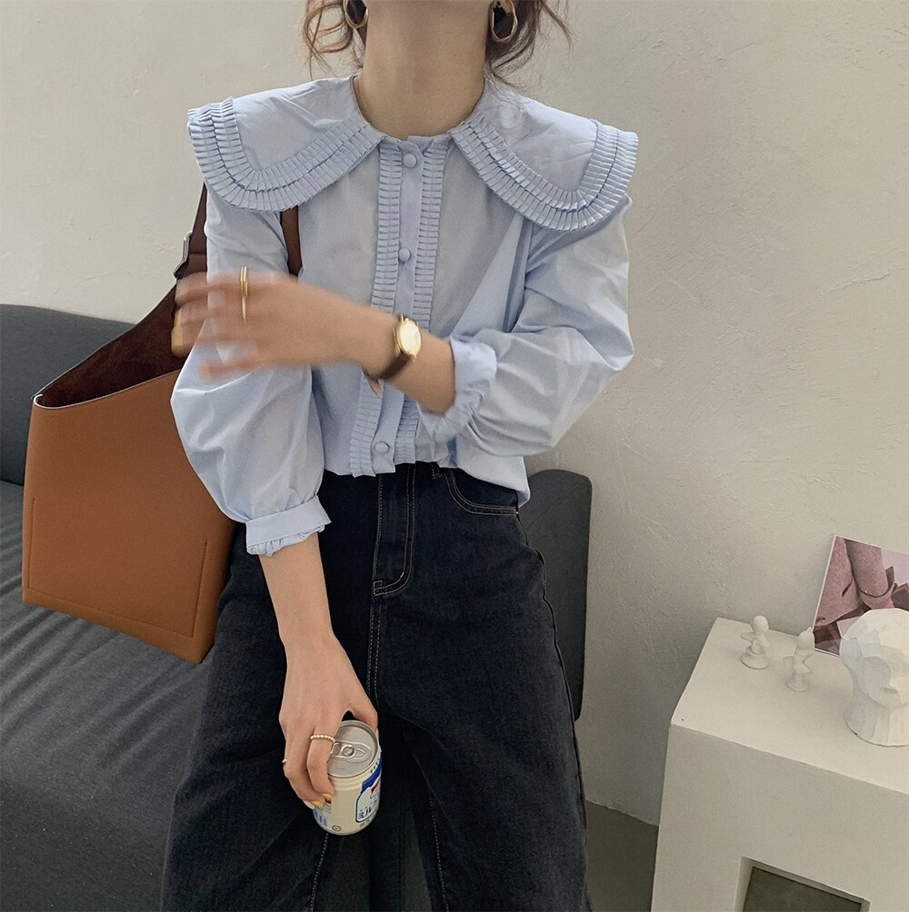 H08763348a5394062afbddb10db29ad12f - Spring / Autumn Frilled Big Lapel Collar Long Sleeves Solid Blouse