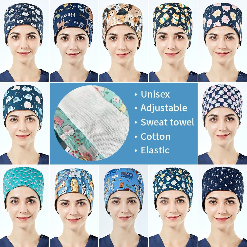Tooth Beauty studio work hat Animal print Dust-proof scrubs caps with Sweat towel for women Health c
