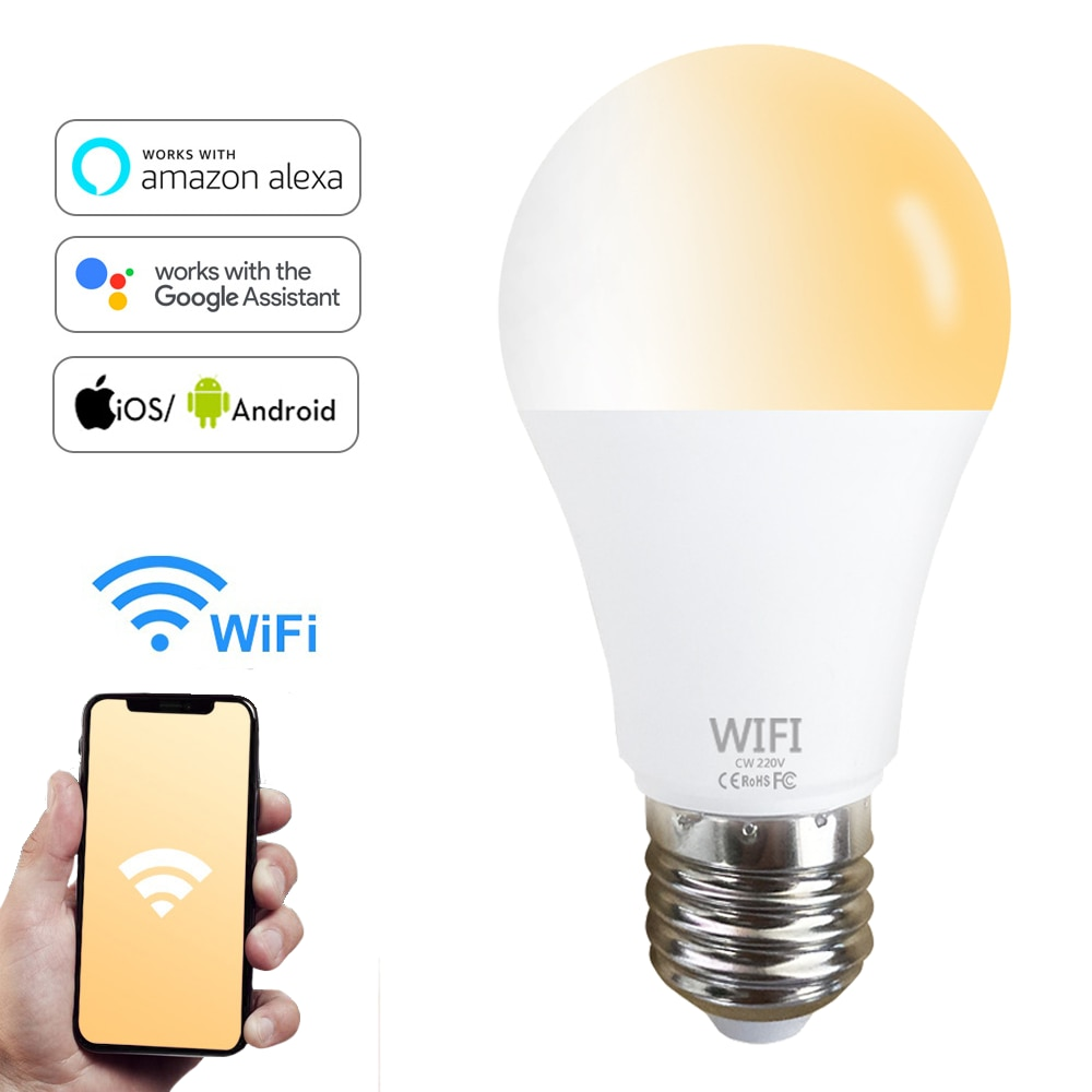 new e27 rgbw led lamp wifi smart light bulb 7w dimmable multicolor wake up lights compatible with alexa and google assistant WiFi Light Bulb Smart Dimmable 15W B22 E27 Led Lamp App Operate Alexa Google Assistant Control Wake Up Smart Lamp Night Light