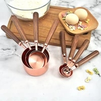 4pcsset measuring cups spoon thicken wooden handle copper plating baking tool with scale rose golden thicken kitchen gadgets