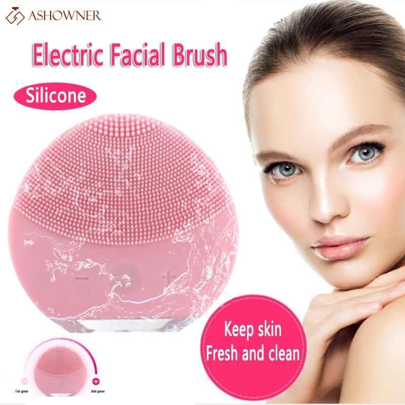 Electric facial cleansing brush Silicone Facial Brush Skin Care Face Brush Sonic Vibration Deep Pore Blackhead Cleansing Washer недорого