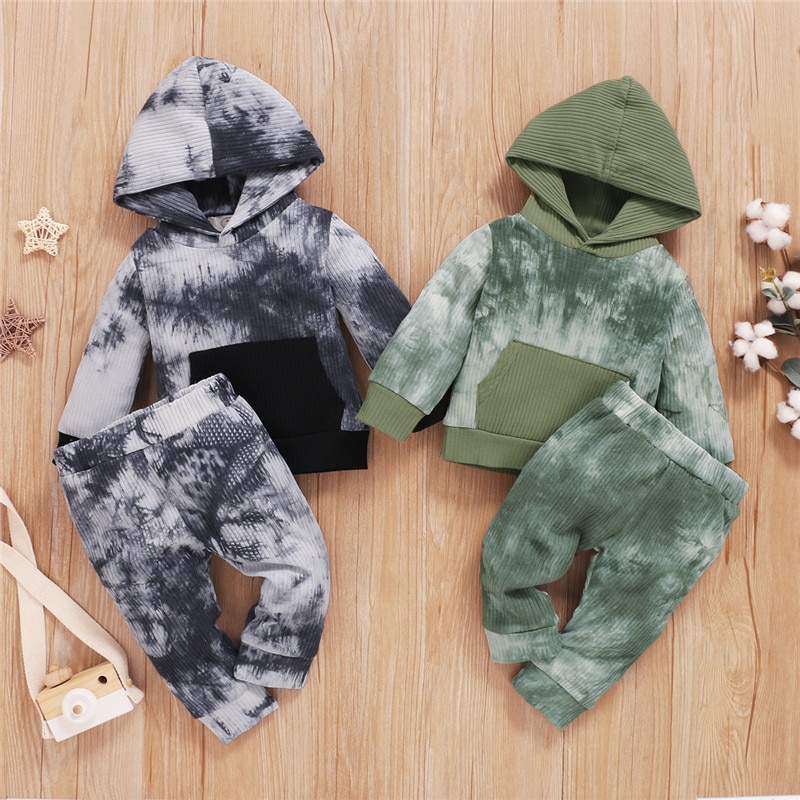 Ropa Para recién nacido, Chico, bebé, ropa para niñas, Set de tinte de corbata, jersey con capucha de manga larga, Sudaderas, Tops, pantalones, ropa para bebés y niños
