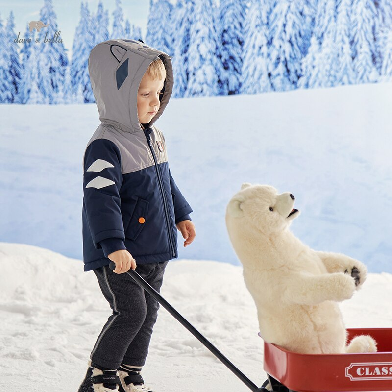 DBX19920 ديف بيلا الشتاء طفل الفتيان موضة الكرتون مقنعين معطف مبطّن الأطفال الصبي القمم الرضع طفل ملابس خارجية