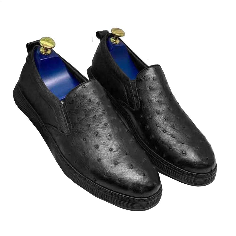 Hexiaofengdedian جديد وصول الرجال الترفيه sheos الرجال أحذية أنيقة الذكور النعامة أحذية النعامة أحذية من الجلد