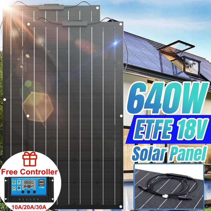 Solar Panel 640W 320W 18V ETFE Solar Power Bank Car Battery Charger System 18V Solar Panel Kit Complete For Home Outdoor Camping