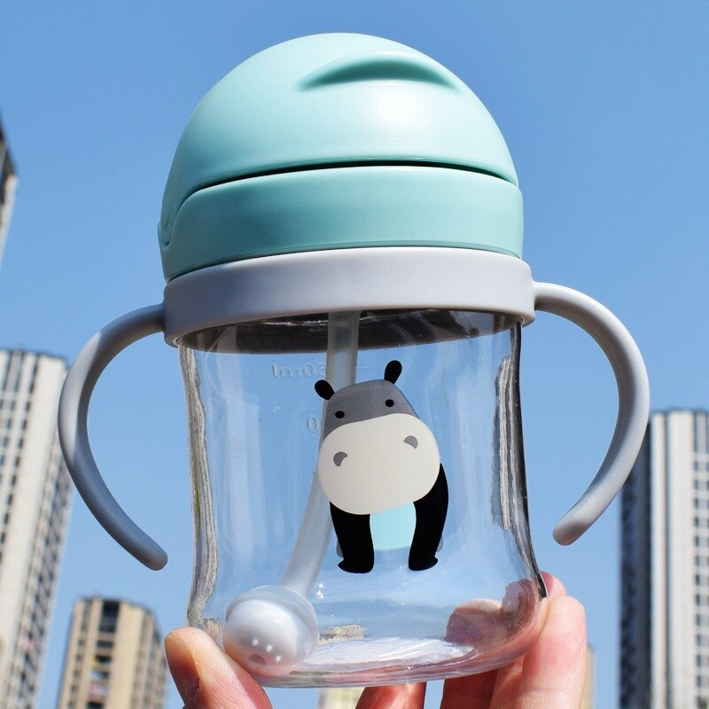 250ML Cartoon Baby Feeding Bottle Infant Children Drinking Bottle Kids PP Non-spill Portable Straw Water Bottle Drinkware