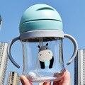 250 мл детская бутылочка для кормления с героями мультфильмов, Детская Бутылочка для питья, портативная соломенная бутылка для воды, посуда для напитков