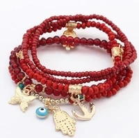 lucky hand of fatima blue evil eye charms bracelets bangles turkish multilayer beads women bracelet