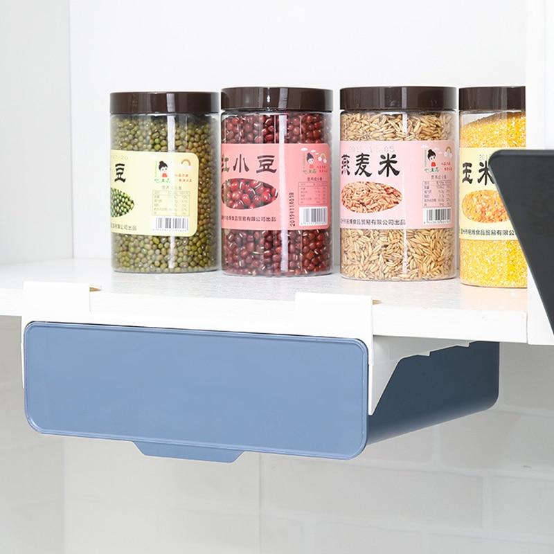 شحن مجاني تحت سلة التخزين الجدول درج صندوق تخزين من الألومنيوم الحرة قابل للسحب اللكم المنزل المطبخ YB090M64