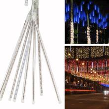 8 pièces ue Plug 220V 30CM étanche luminaire pluie de météores à LED lampe décorative (Version LED SMD)
