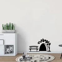 small mouse hole wall sticker door cupboard home decor art kids room decoration creative pvc carved stickers on the wall
