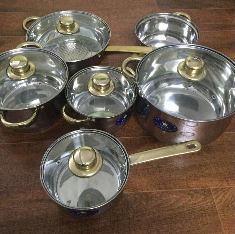 Juego de utensilios de cocina cazuelas Inox olla de acero inoxidable 12 Uds ollas y sartenes