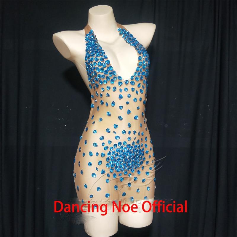 الإناث المغني الأزرق حجر الراين فستان مثير شفاف شبكة مطاطية فستان قصير أداء المرحلة ارتداء سحب الملكة ازياء DN9803