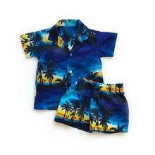 Vêtements pour bébé garçon, ensemble pour la plage hawaïenne, t-shirt + short