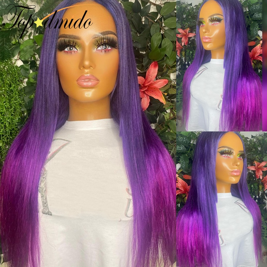 Ombre Purple Color 13x4 Lace Front Wigs 180% Density Remy Glueless Lace Wig for Women Straight Human Hair 4x4 Closure Wigs