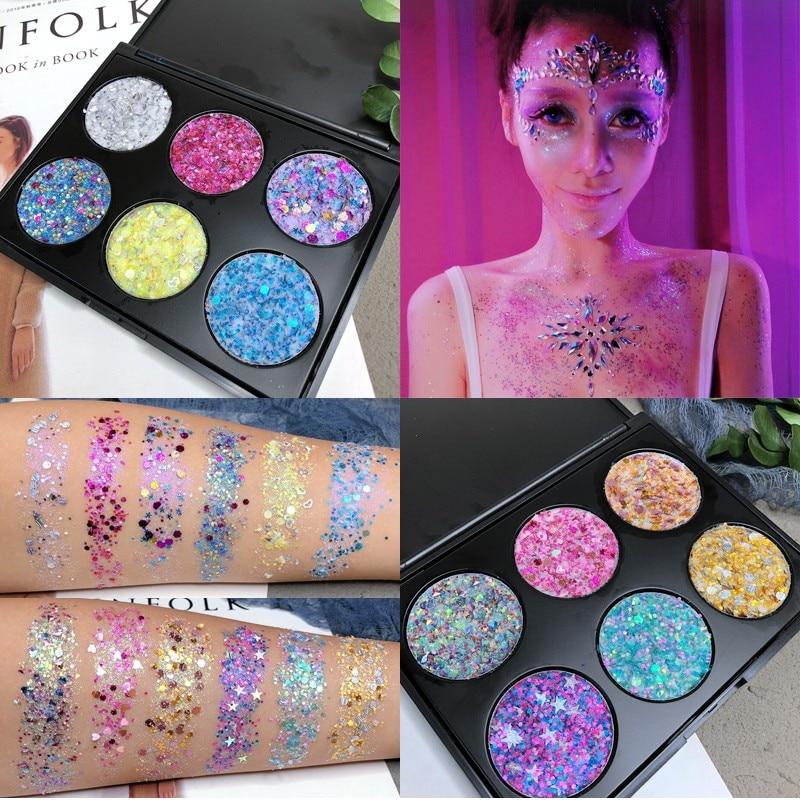 Lentejuelas flash 6 colores sombra de ojos púrpura metal sombra láser flash maquillaje 3D ojo maquillaje especial maquillaje fiesta maquillaje bandeja