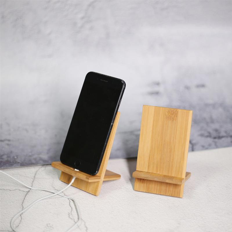 2pcs With Charging Hole Bamboo Cell Phone Holder Universal Tablet Stand Desktop Smartphone Bracket For Home Office