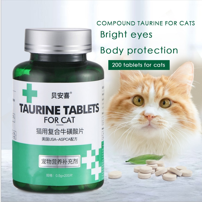 Pet Cat Taurine Tablets Kittens Adult Cats Bright Eyes Taurine Tablets Cat Nutrition Cat Health Supplement 200 Tablets dokkan abura das 180 tablets super herb detox enzyme diet support supplement