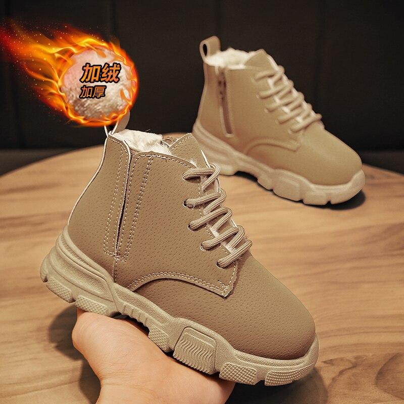Winter Children Shoes Warm Plush Girls Boots Waterproof Boys Cotton Shoes Fashion Kids Snow Boots Toddler Bota Martin Boots Shoe
