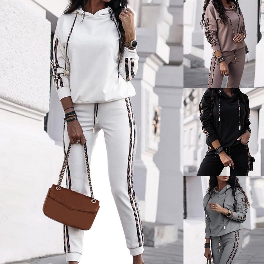 New Autumn Women's Fashion 2 Piece Set Tracksuit Long Sleeve Patchwork Top + Pants Jogging Suits Sportswear Sports Hot Suit