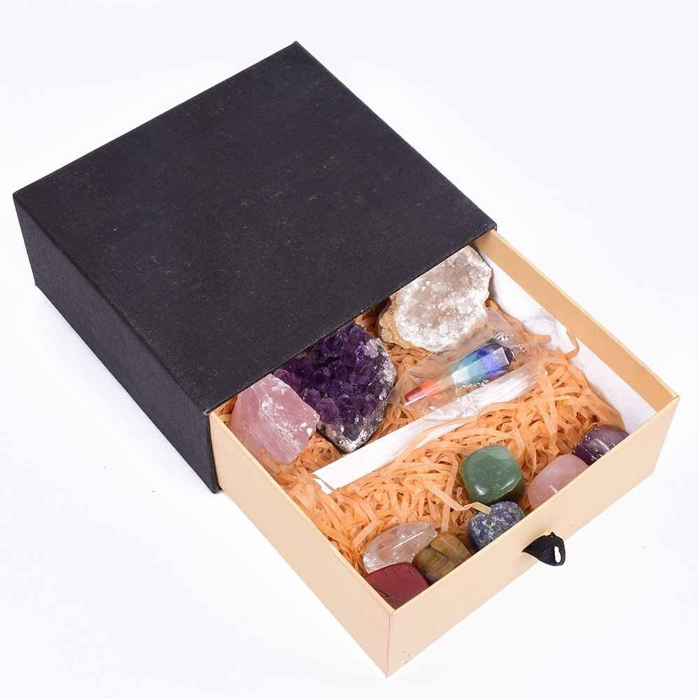 Venta al por mayor de 7 Cristal de Chakra y piedras de cristal conjunto Kit de sanación, la meditación conjunto