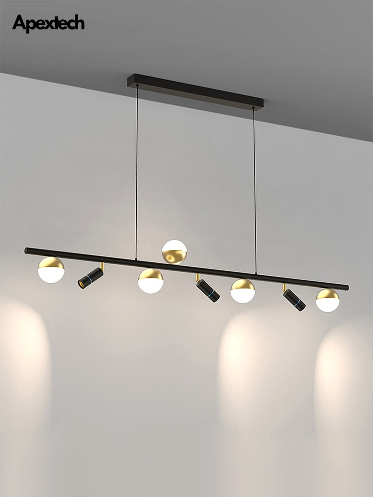 آخر الحديثة أفقي LED الثريا غرفة الطعام سقف معلق ضوء المطبخ تعليق الأضواء زاوية الثريا قابل للتعديل