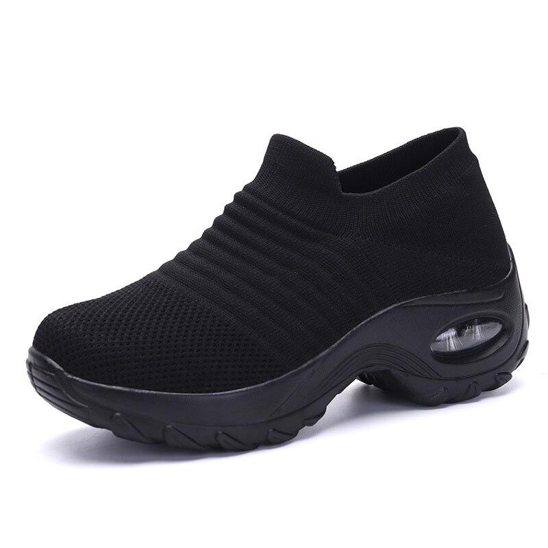 Zapatos Damyuan informales de verano para mujer, zapatillas con plataforma antideslizantes, calcetines de malla negros a la moda para mujer, mocasines anchos, zapatos para caminar