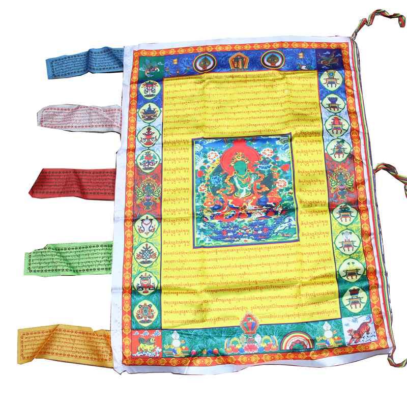 Lucky Tibetan Buddhism Silk Flag Wind Horse Wall Hanging Flags Banners Buddha Prayer Flag Decors Home Decor GPD8223