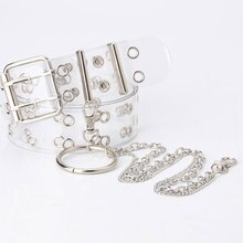 1Pc Two Row PVC Clear Belt For Women Fashion Pin Buckle Female White Waist Trousers Transparent Belt