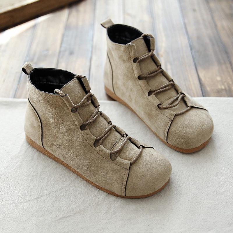 Mori-أحذية نسائية من جلد الغزال ، أحذية قصيرة ريترو ناعمة ، نمط ياباني غير رسمي ، مارتن ، رأس دائري مسطح ، للطلاب