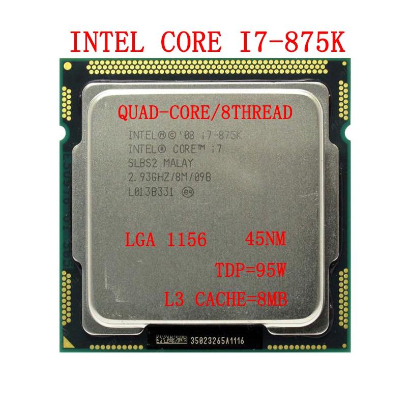 I7 875K رباعية النواة 2.93GHz 8M SLBS2 معالجات سطح المكتب الكمبيوتر i7-875K وحدة المعالجة المركزية المقبس LGA 1156 دبوس