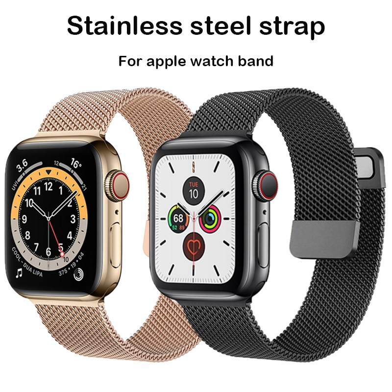 for apple watch band 6 se 5 4 38 42mm stainless steel strap for iwatch loop 40 44mm for apple bands 3 2 1 sport watches bracelet Magnetic Loop For Apple watch band 44mm 40mm iWatch Band 38mm 42mm Stainless steel bracelet Apple watch seri es 5 4 3 se 6 strap