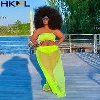 summer women set solid mesh see through strapless crop tops loose skirts with plus size paties