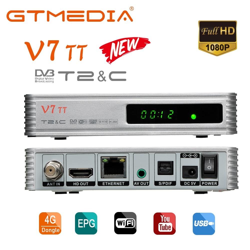 GTmedia-receptor terrestre V7, sintonizador de Cable de DVB-T2, WIFI USB, Youtube, H.265,...