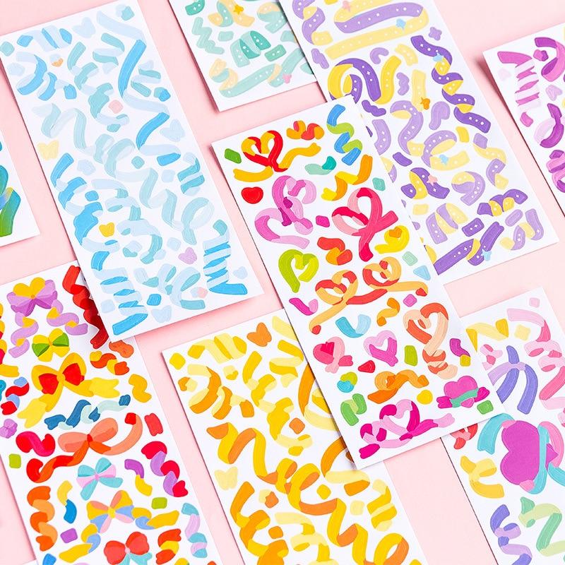 Mohamm-pegatinas de la serie Rainbowsky, decoración colorida, Material artesanal, 3 hojas