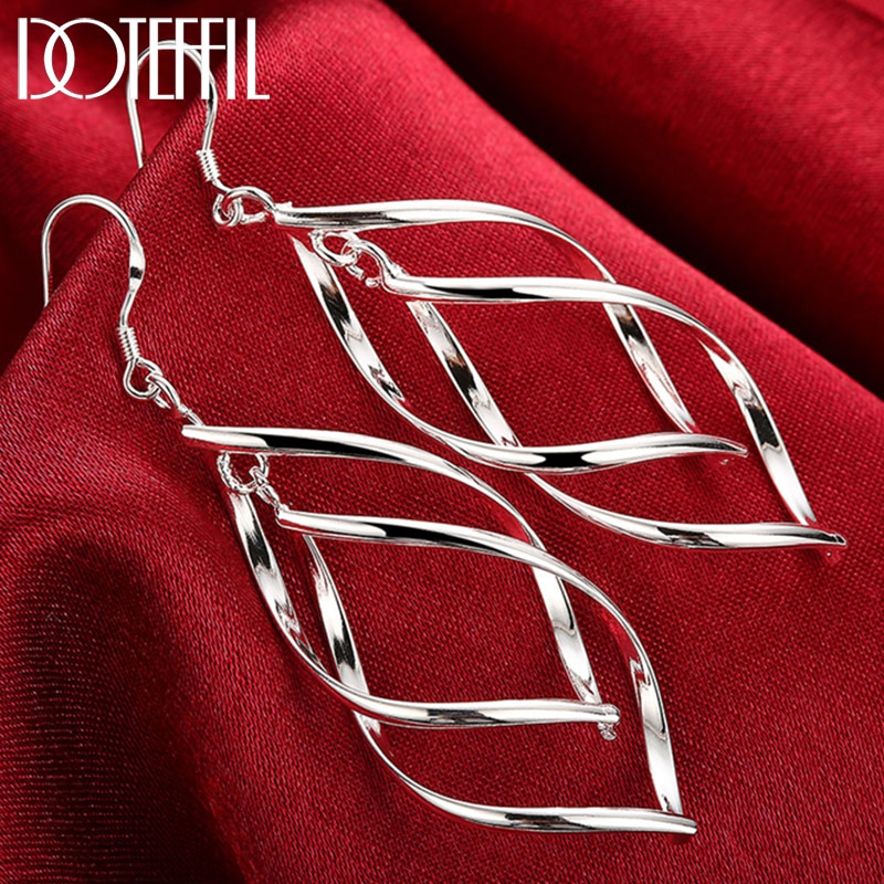 DOTEFFIL Real 925 Sterling Silver Drop Earrings For Women Gift Christmas Party Wedding Engagement Jewelry nasia jewelry 925 sterling silver mystery rainbow crystal earrings for women girl ear hook style earrings engagement party decor